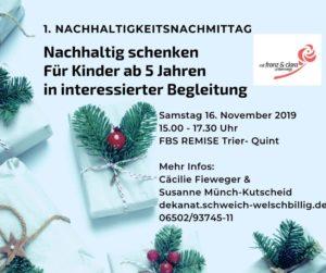 Nachhaltigkeitsnachmittag: Nachhaltig schenken für Kinder ab 5 Jahren in interessierter Begleitung @ Familienbildungsstätte Remise Trier-Quint
