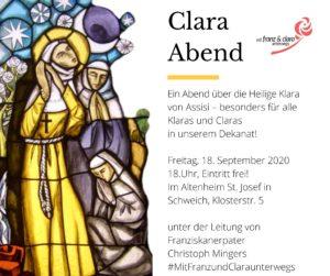 Ein Abend über die Heilige Klara von Assisi – besonders für alle Klaras @ Bei gutem Wetter: Büro der Pastoralreferenten (sonst: siehe unten)